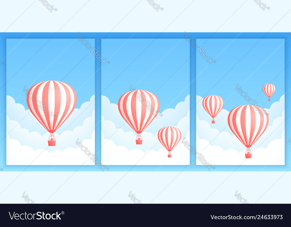 Hot air balloon cloud scape promo banner template