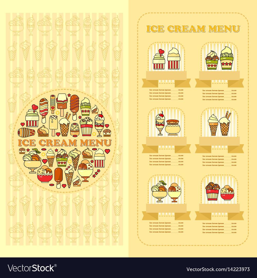 Ice cream menu card set of cute desserts icons