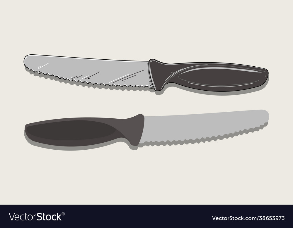 Kitchen knife in two versions isolated on beige