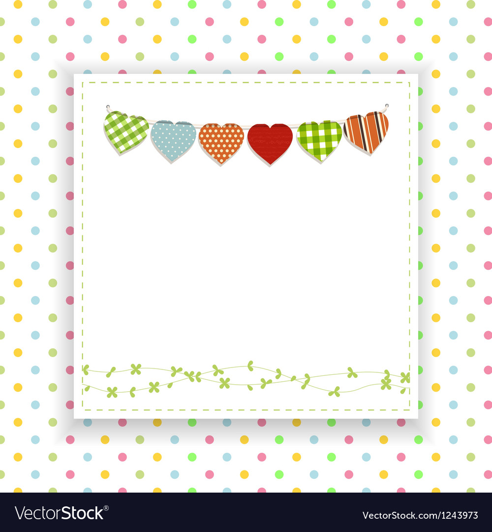 Polka dot background with panel and bunting vector image