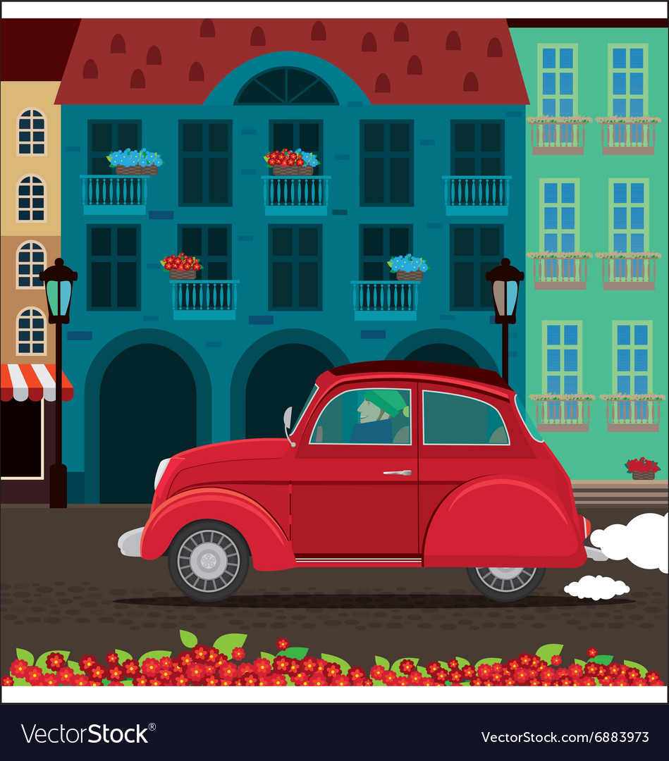 Retro car rides through the old town Royalty Free Vector