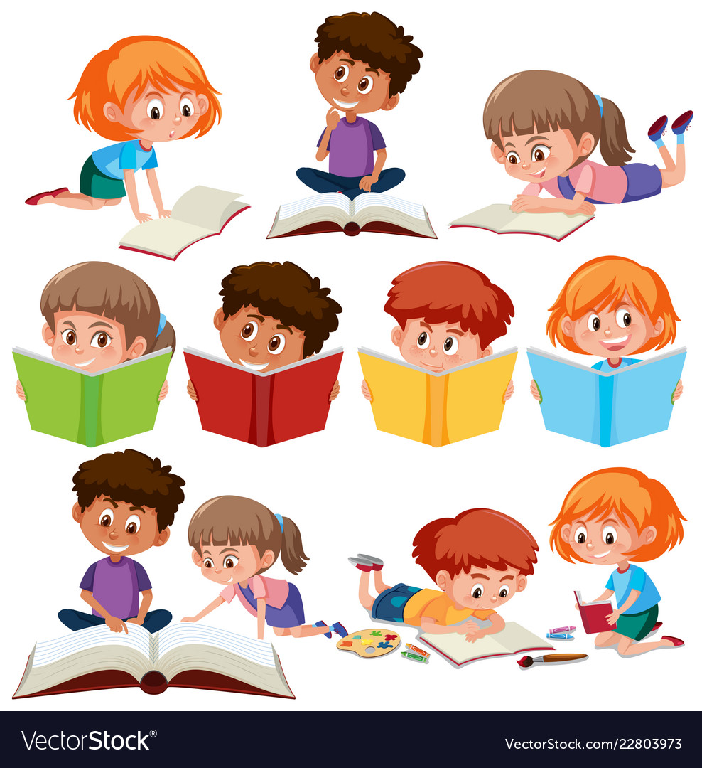 set of kid reading book royalty free vector image vectorstock