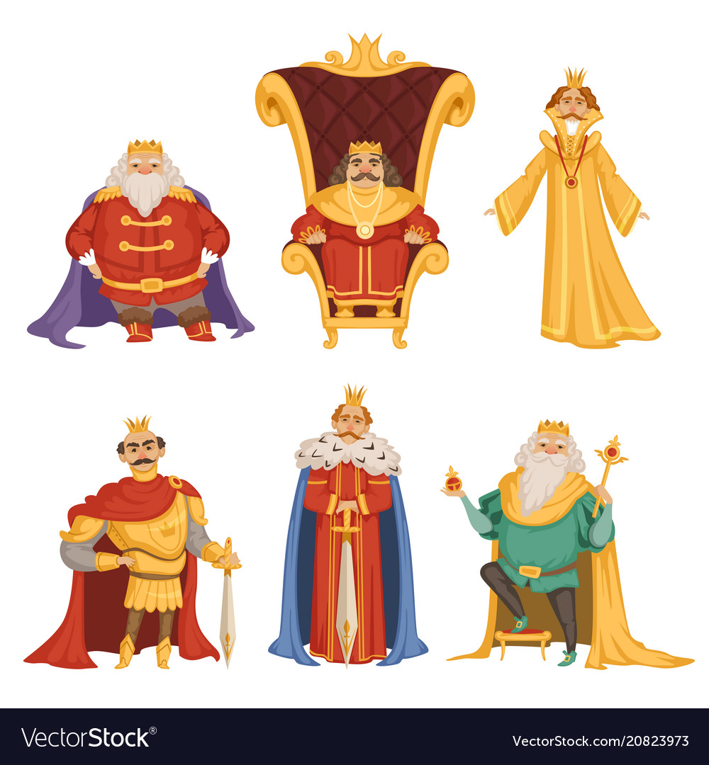 Set of king in cartoon style