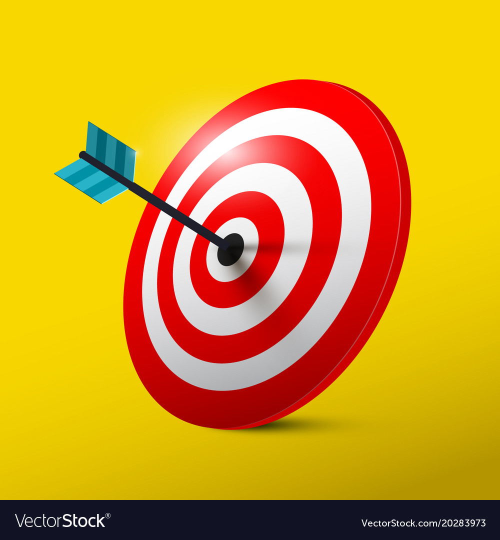 Target 3d symbol with dart dartboard icon