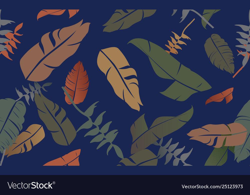 Tropical jungle plants pattern seamless background