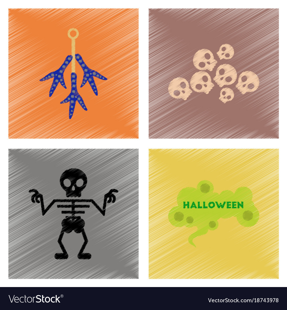 Assembly flat shading style icons halloween