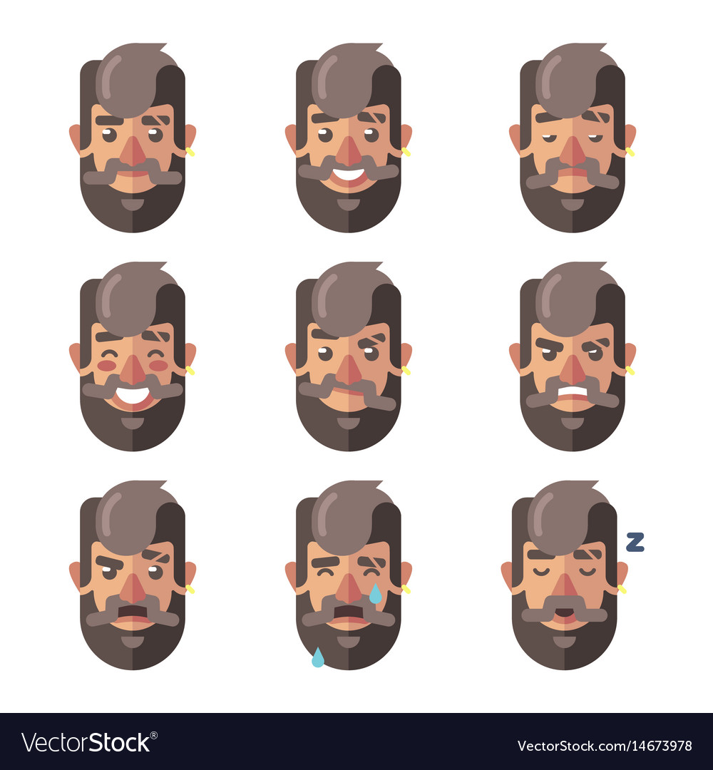 Bearded hipster man facial expressions emotions