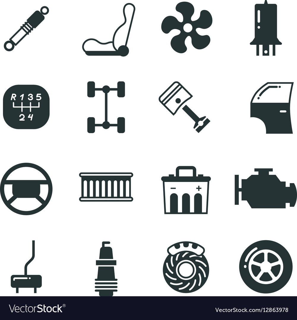 Car Parts Mechanic Icons Set Royalty Free Vector Image