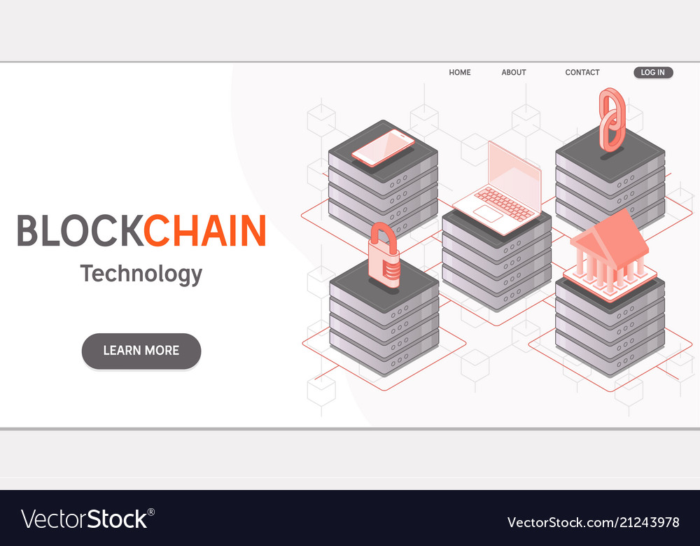 Cryptocurrency and blockchain isometric concept
