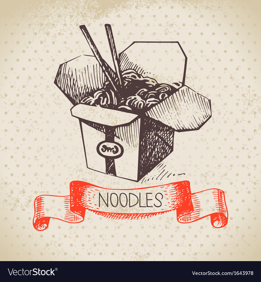Hand drawn vintage Chinese noodles background