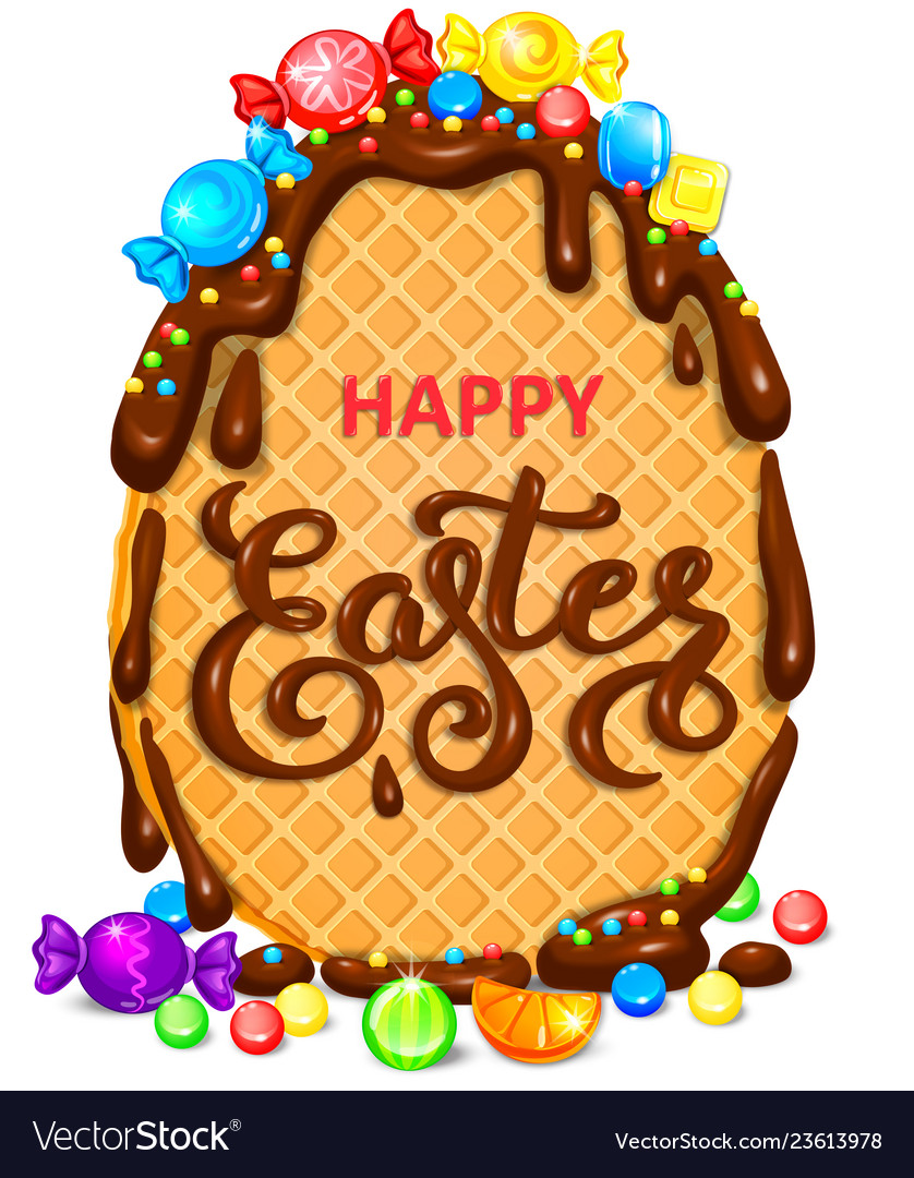 Happy easter waffle egg in chocolate with lot of