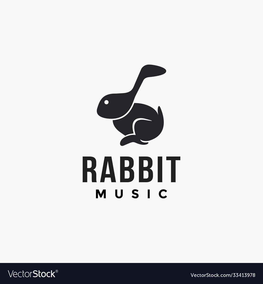 Musical note head rabbit logo icon template