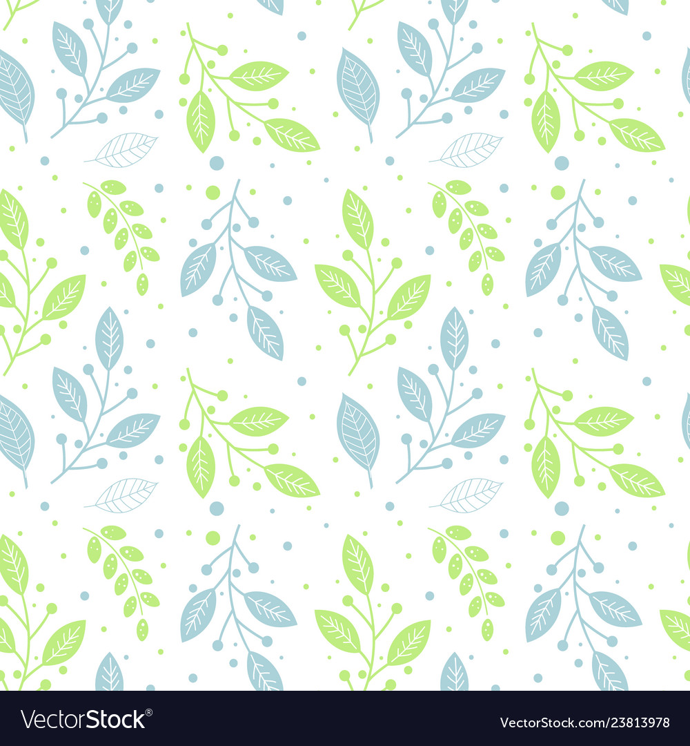 Seamless pattern of green and blue leaves
