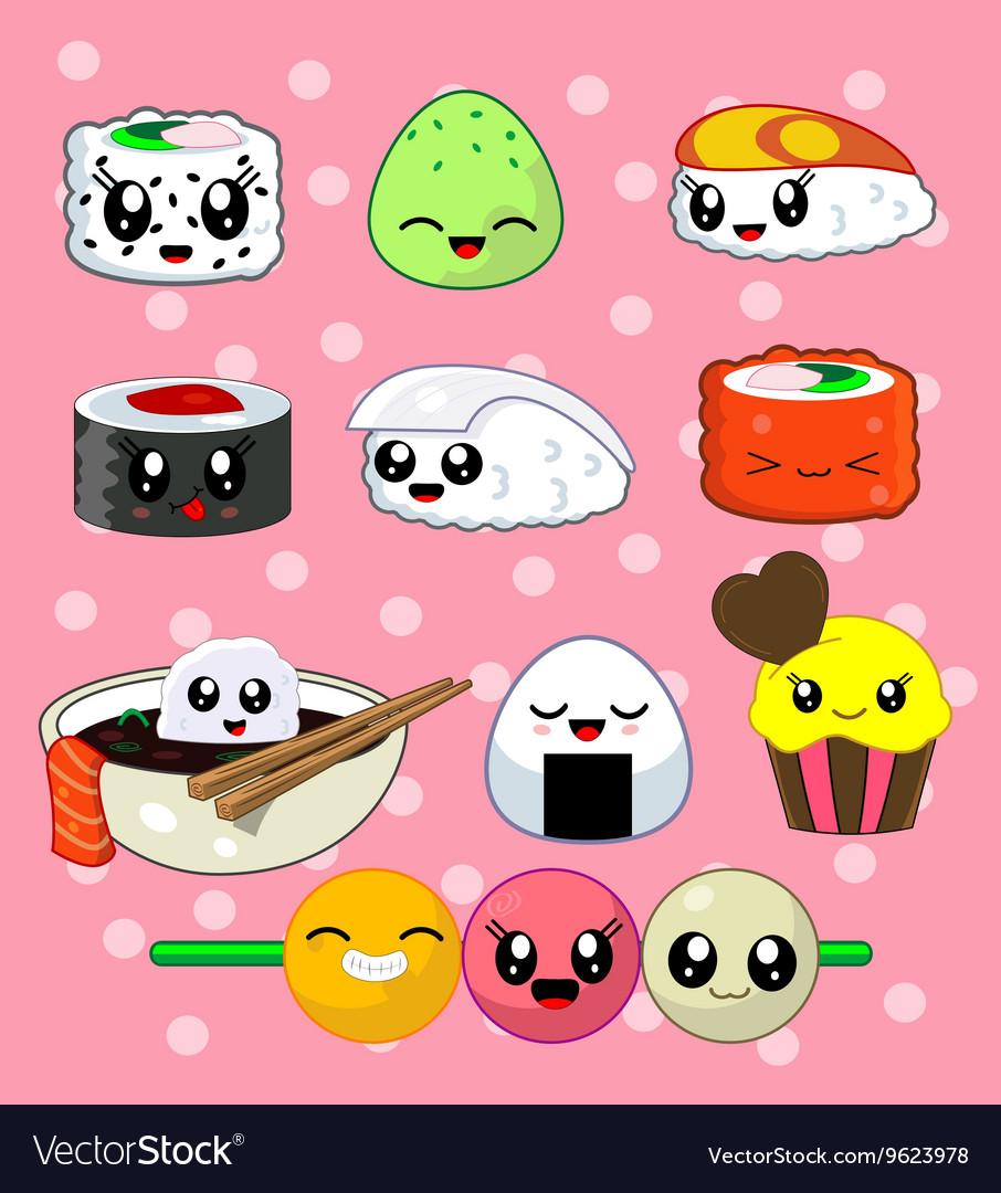 Sushi roll set Happy sushi characters