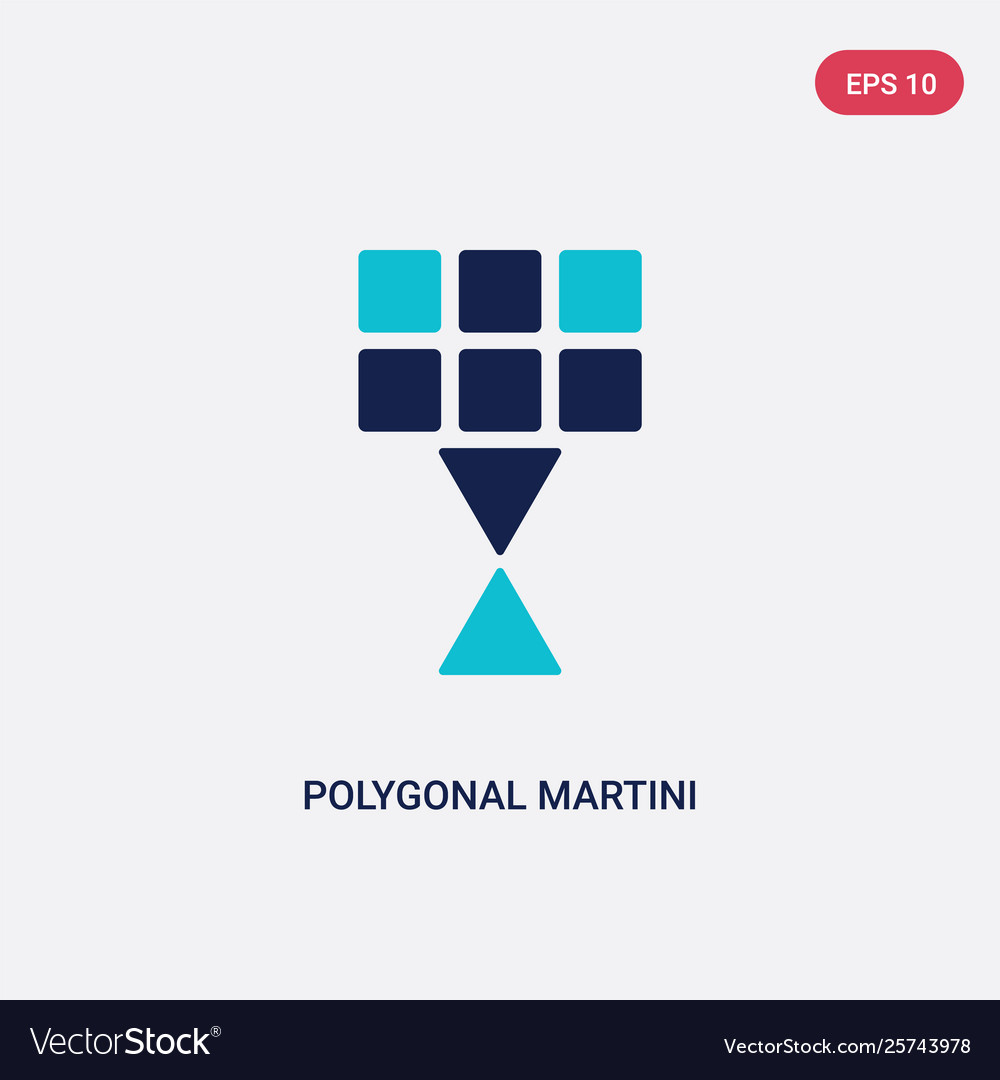 Two color polygonal martini glass shape icon from