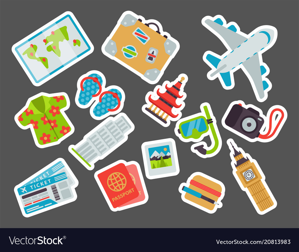 Airport travel icons flat tourism suitcase