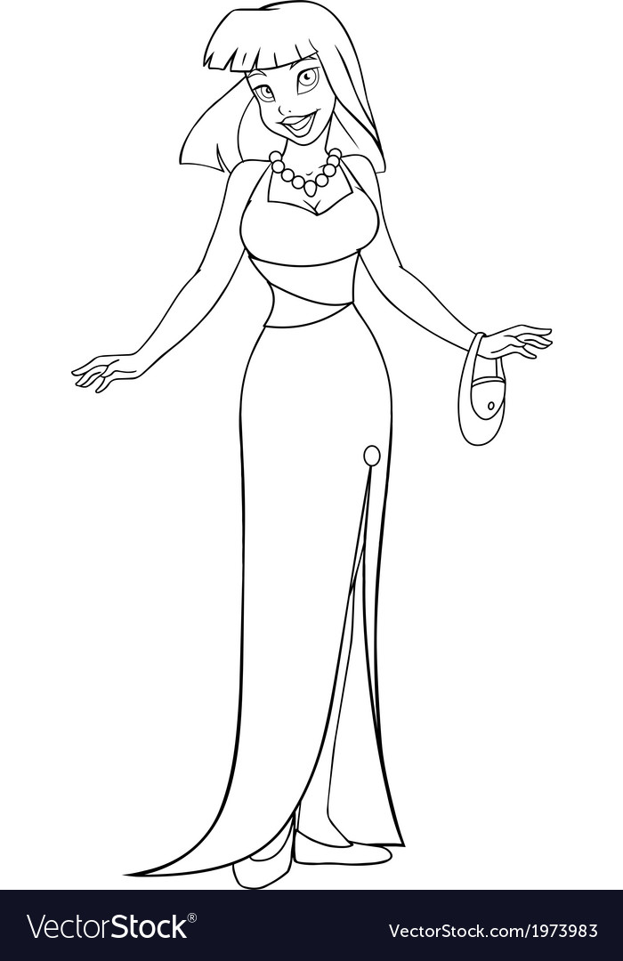 Asian Woman In Evening Dress Coloring Page