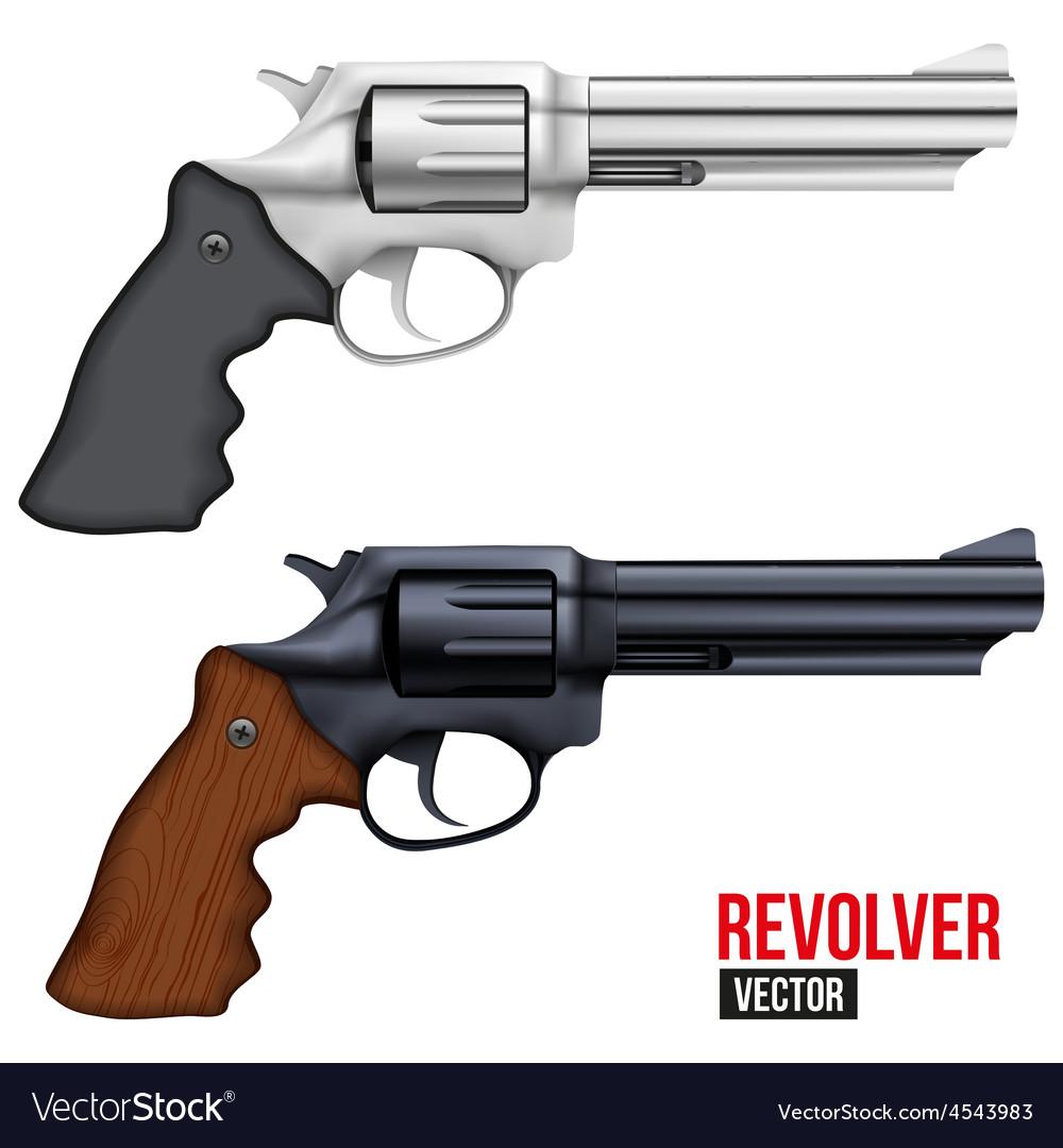 Big Revolver Silver bright metal vector image