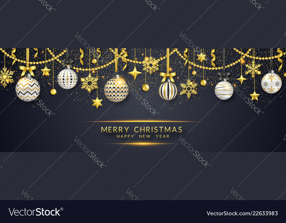 Christmas banner with shining snowflakes bows