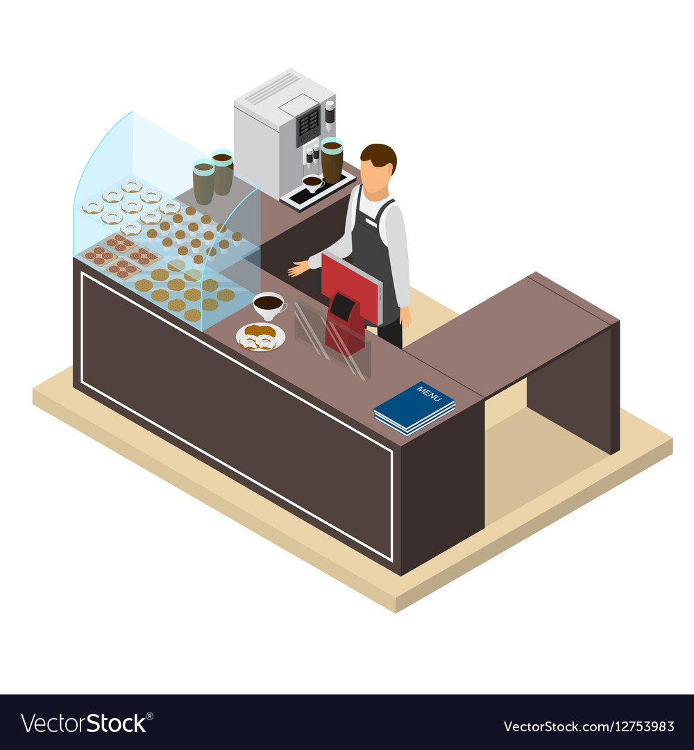 Coffee Shop or Bar Counter and Barista Isometric vector image