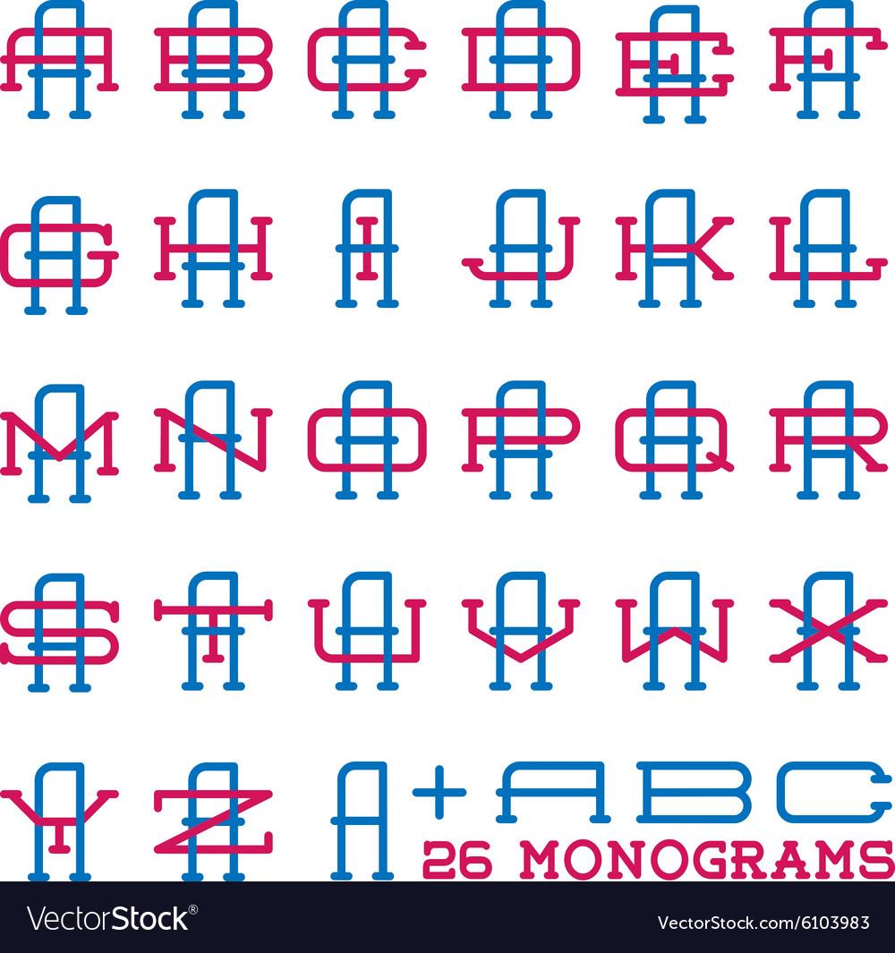 College sport team logo set Two letters monogram