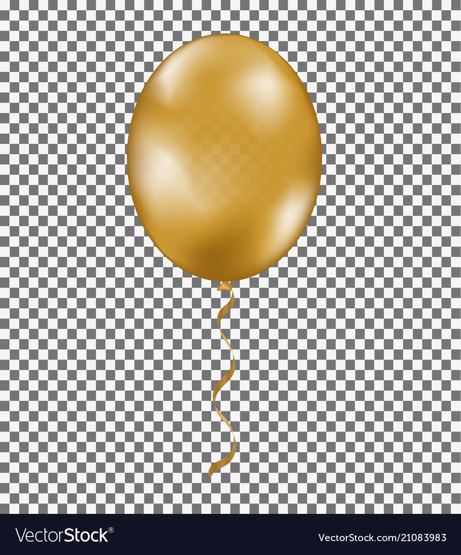 Gold shine air balloon with ribbon isolated on tra