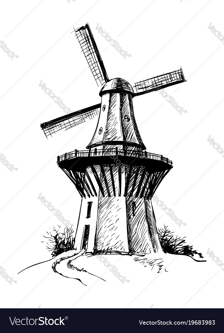 Hand drawn sketch mill