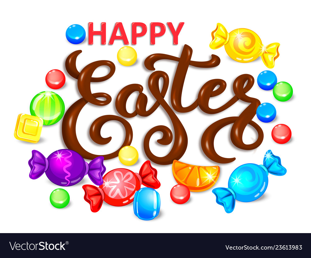 Happy easter chocolate word lettering vector