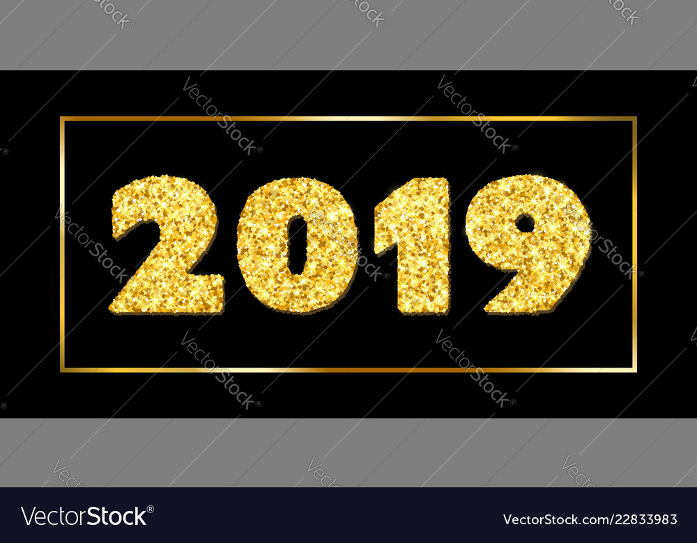 Happy new year card 3d gold number 2019 with text