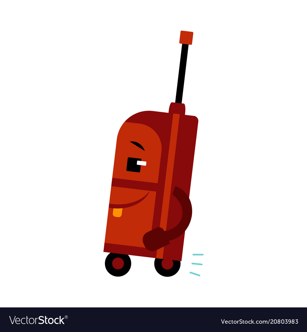 Happy suitcase cartoon character with smile on