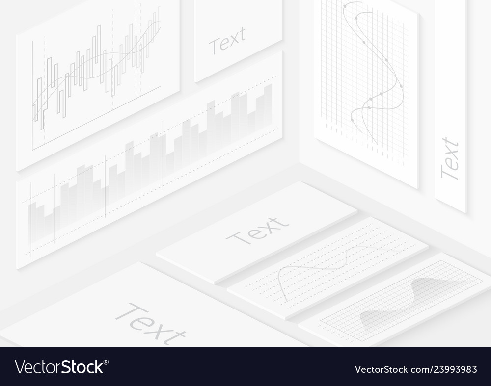 Isometric realistic white wall infographics