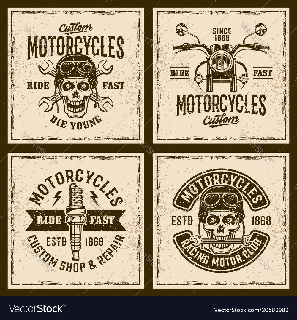 Motorcycles four colored vintage grunged emblems