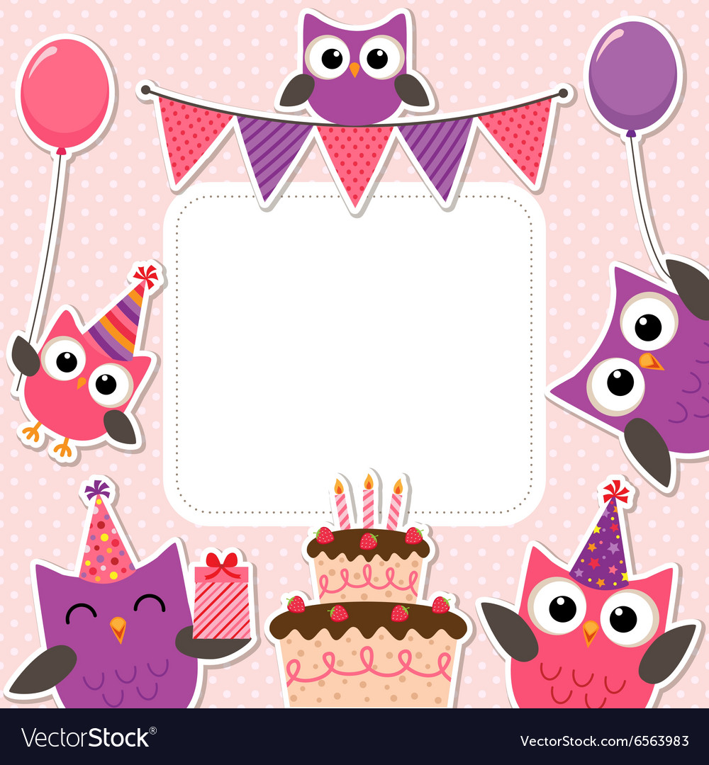 Party owls pink card