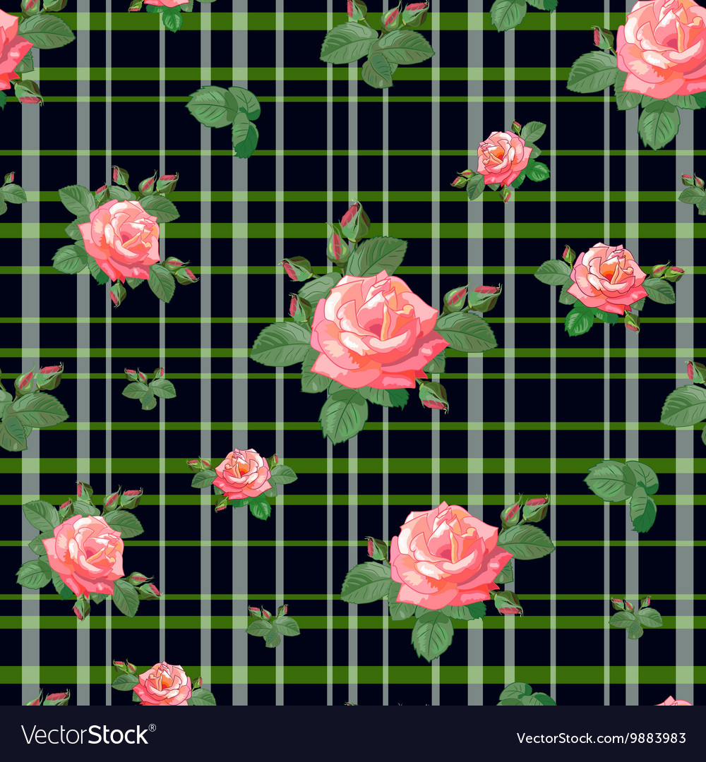 Pattern with roses and stripes