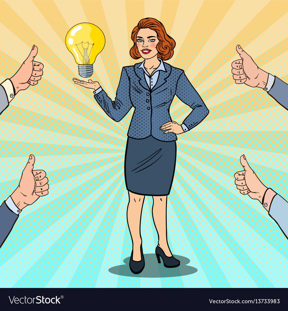 Pop art happy business woman with creative idea