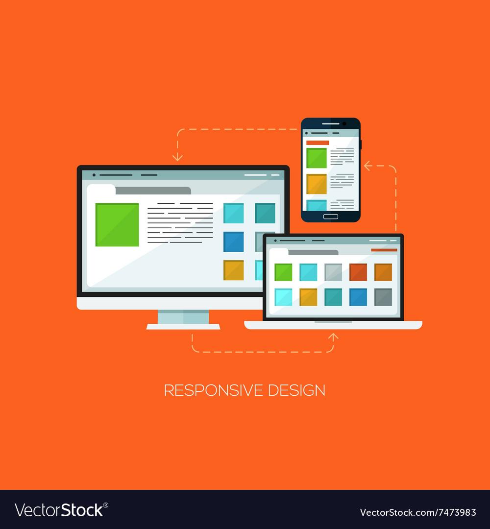 Responsive design flat web infographic technology