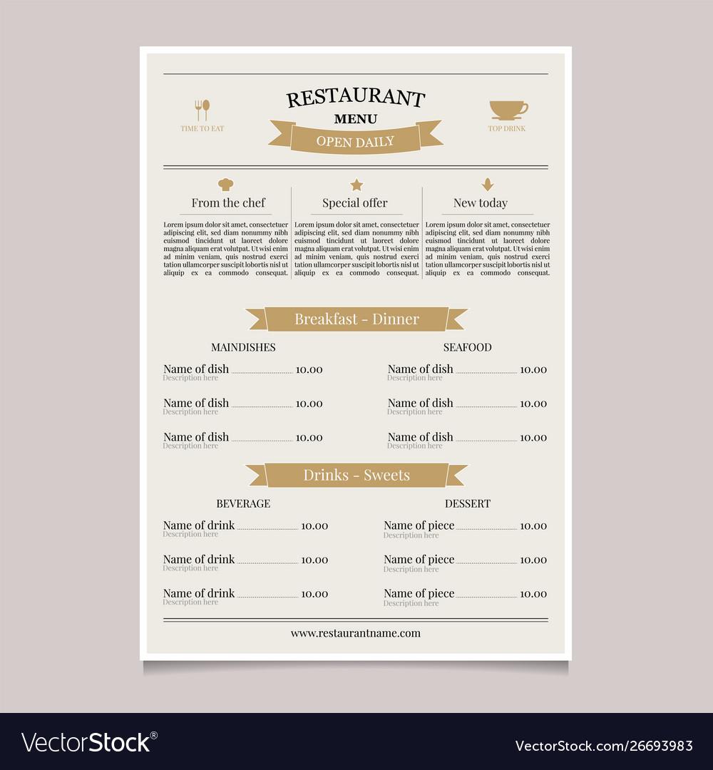 Restaurant menu in vintage style coffee