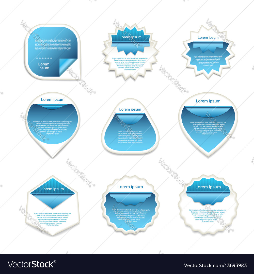 Set of blue and white stickers