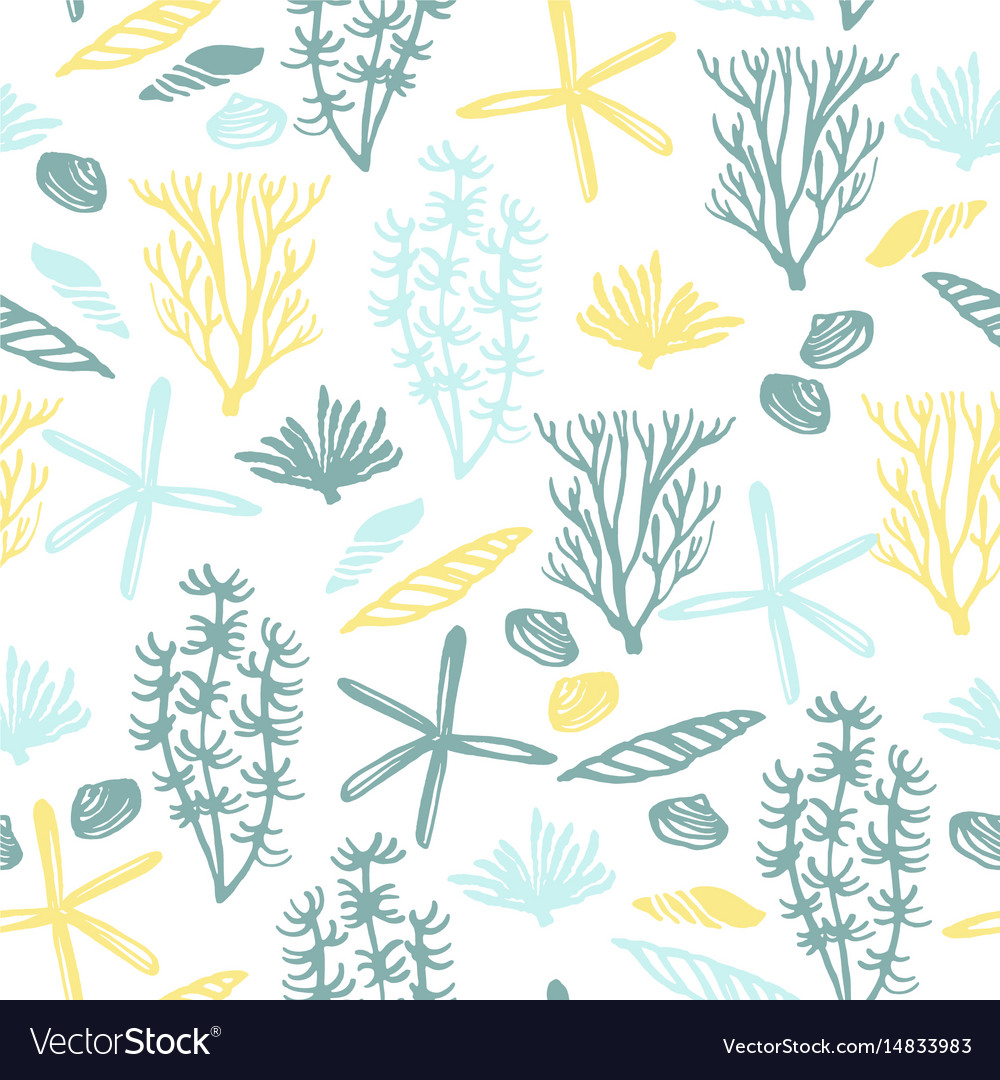 Trendy sea seamless pattern with hand texture