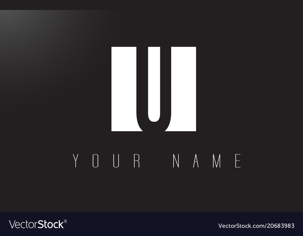 U letter logo with black and white negative space