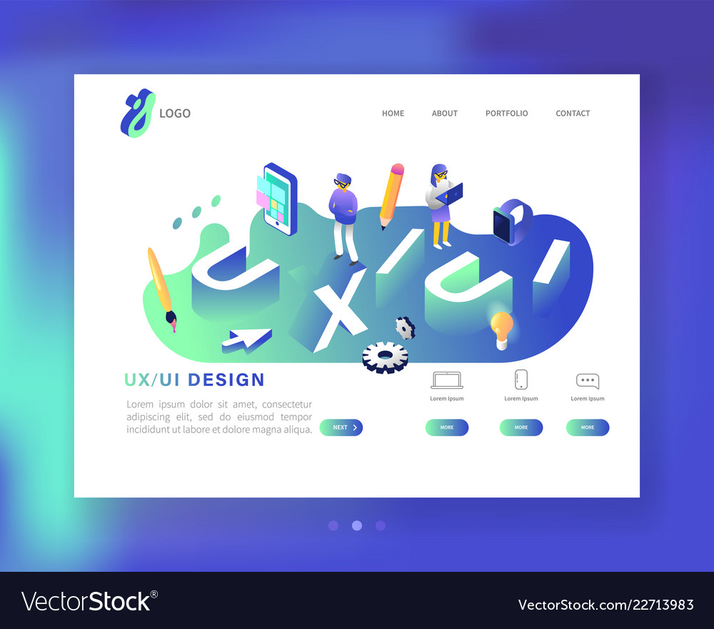 Ux and ui design landing page template mobile