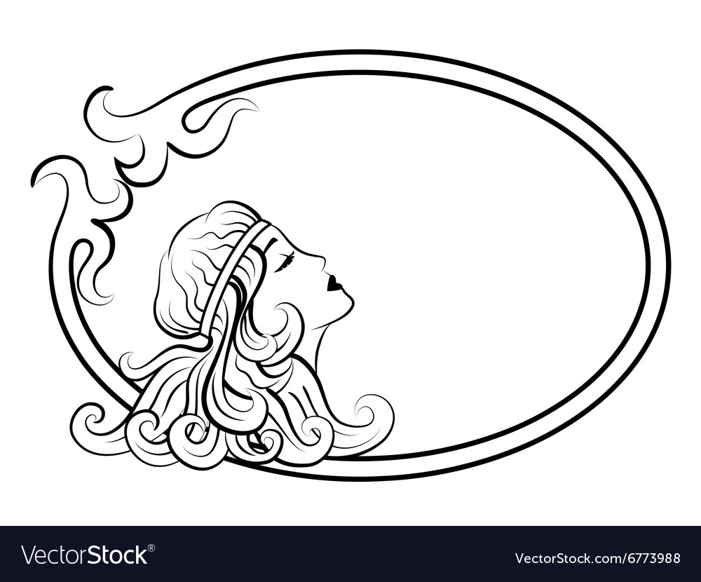 Beautiful antique woman in frame