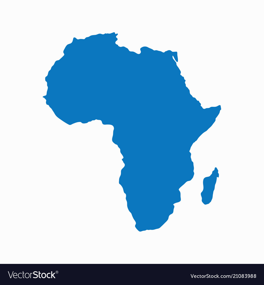 Blank blue similar continent africa map isolated o