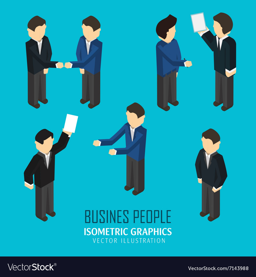 Business people in an isometric view