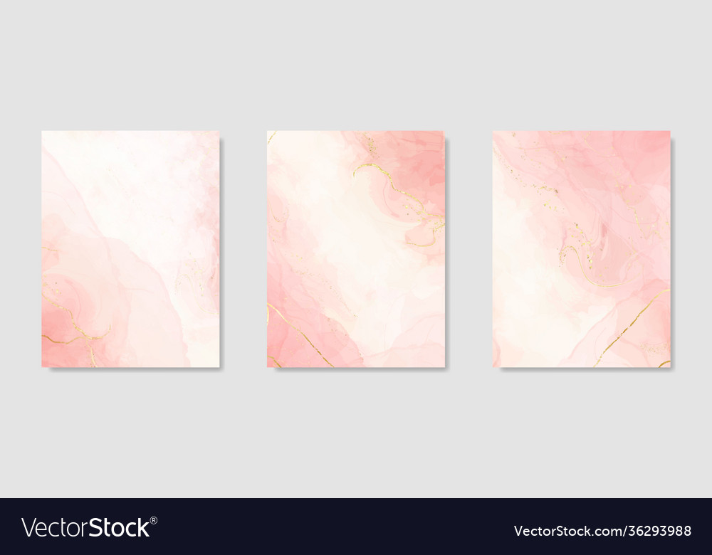Collection abstract pink liquid watercolor
