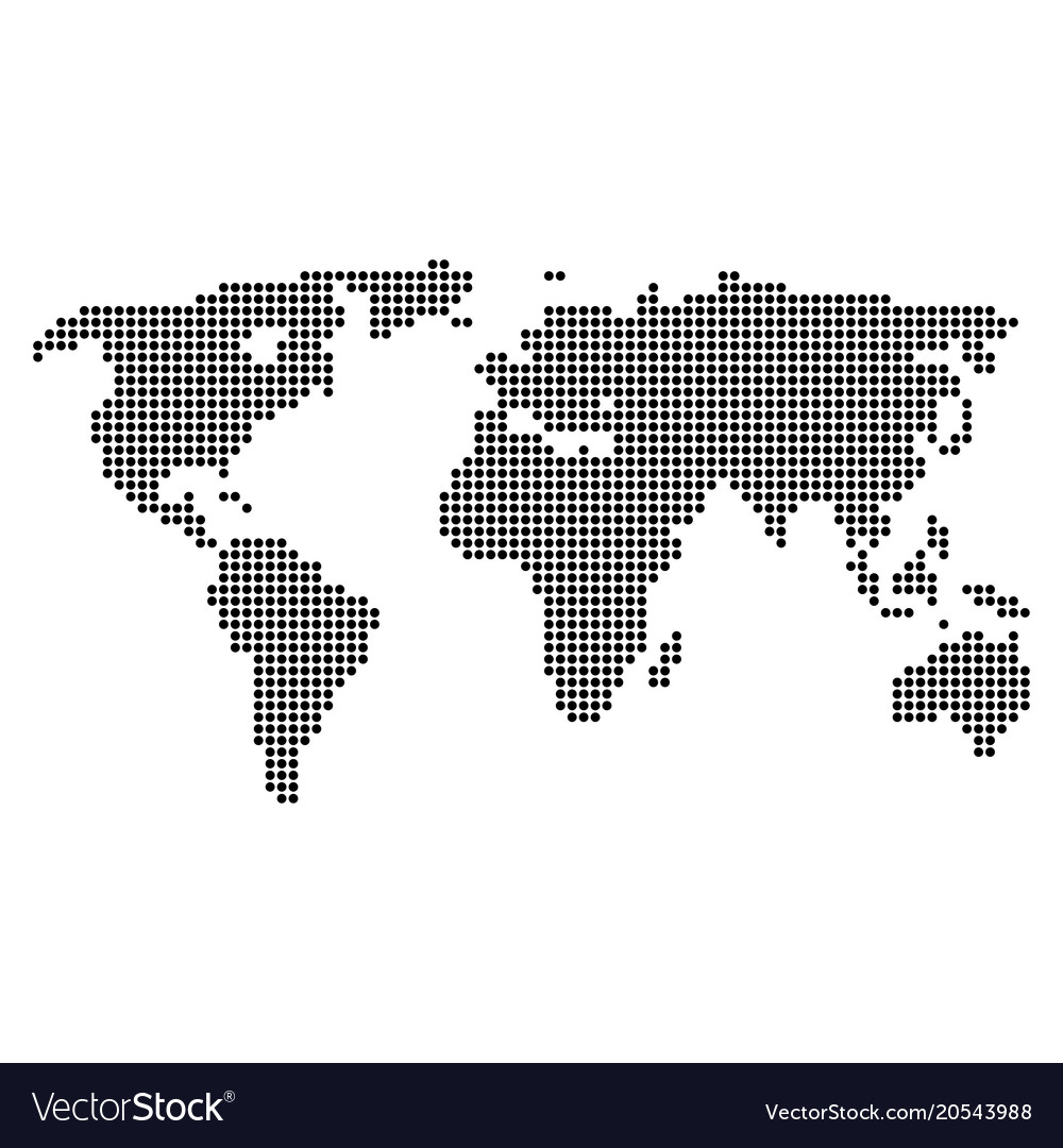 Dotted pixel world map vector image on vectorstock dotted pixel world map vector image gumiabroncs Image collections