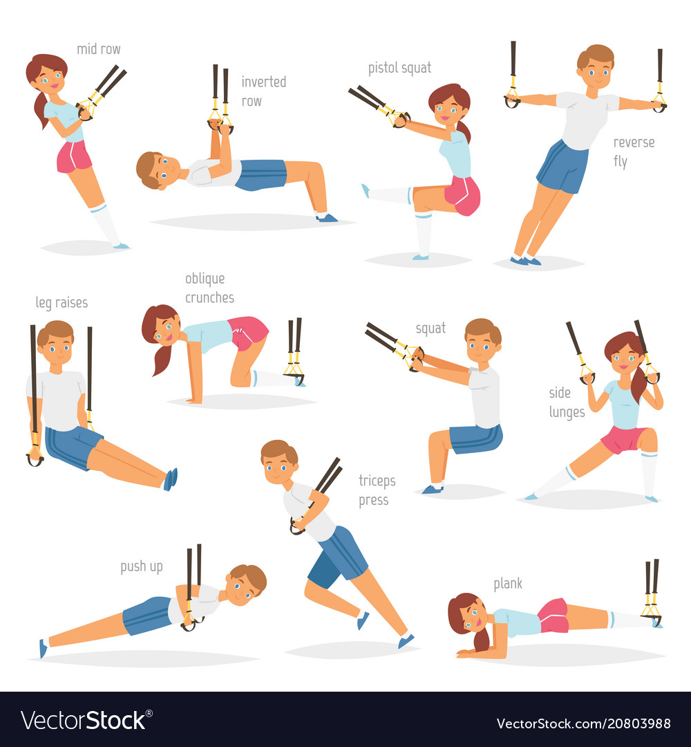 Fitness trx exercises sportsman character