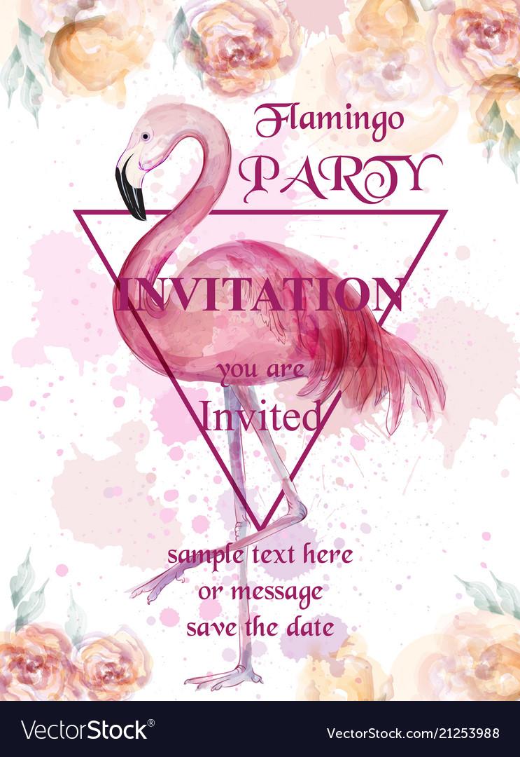 Flamingo party watercolor card hand drawn
