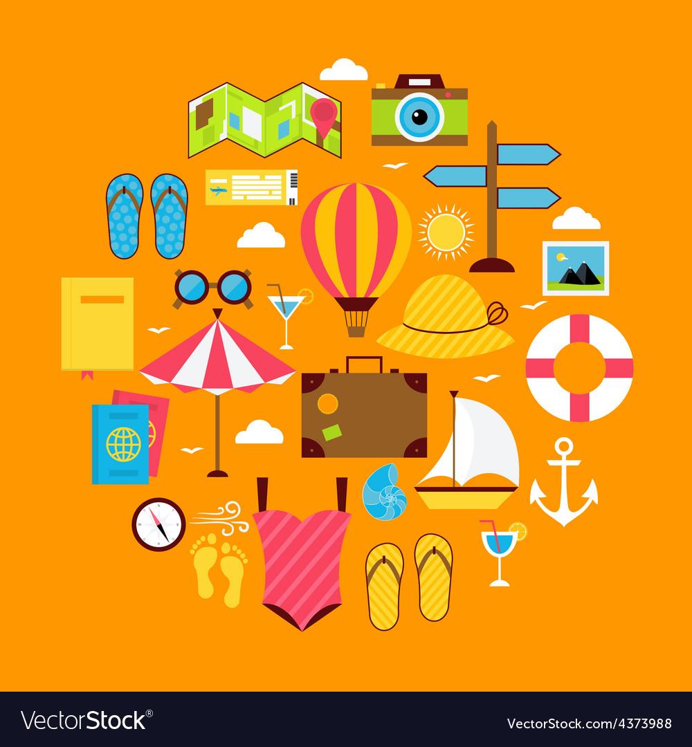 Flat Summer Travel Icon Circle Shaped Set
