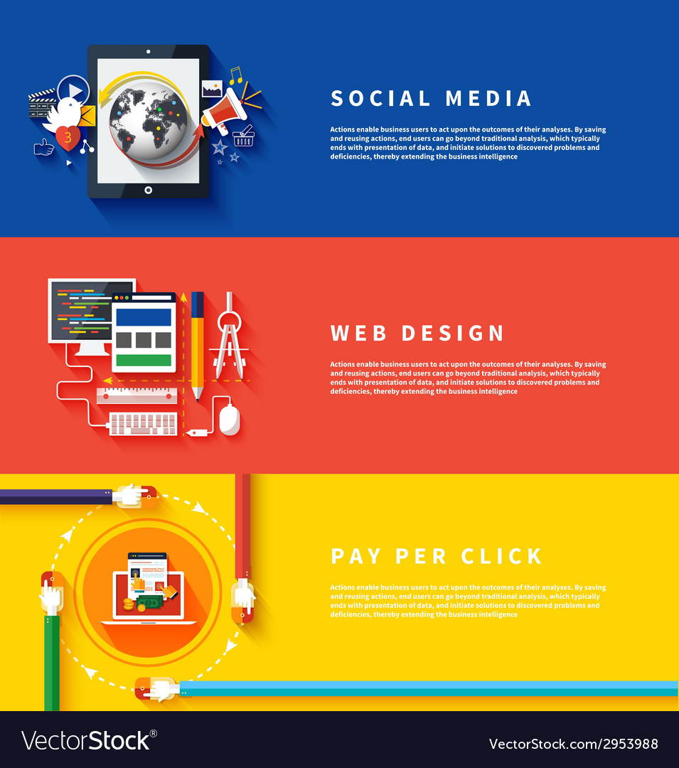 Icons For Web Design Seo Social Media Royalty Free Vector